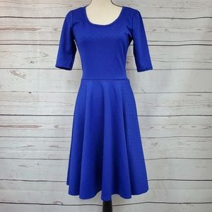 LuLaRoe scoop neck solid blue Amelia flare dress